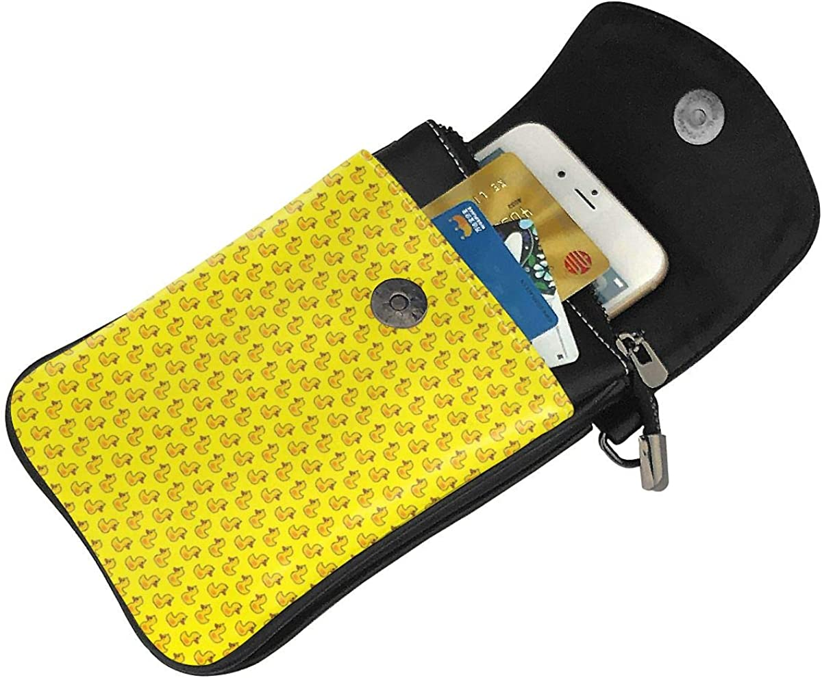 Leather Phone Purse Cute Funny Rubber Duck Small Crossbody Bag Mini Cell Phone Pouch Shoulder Bag for Women