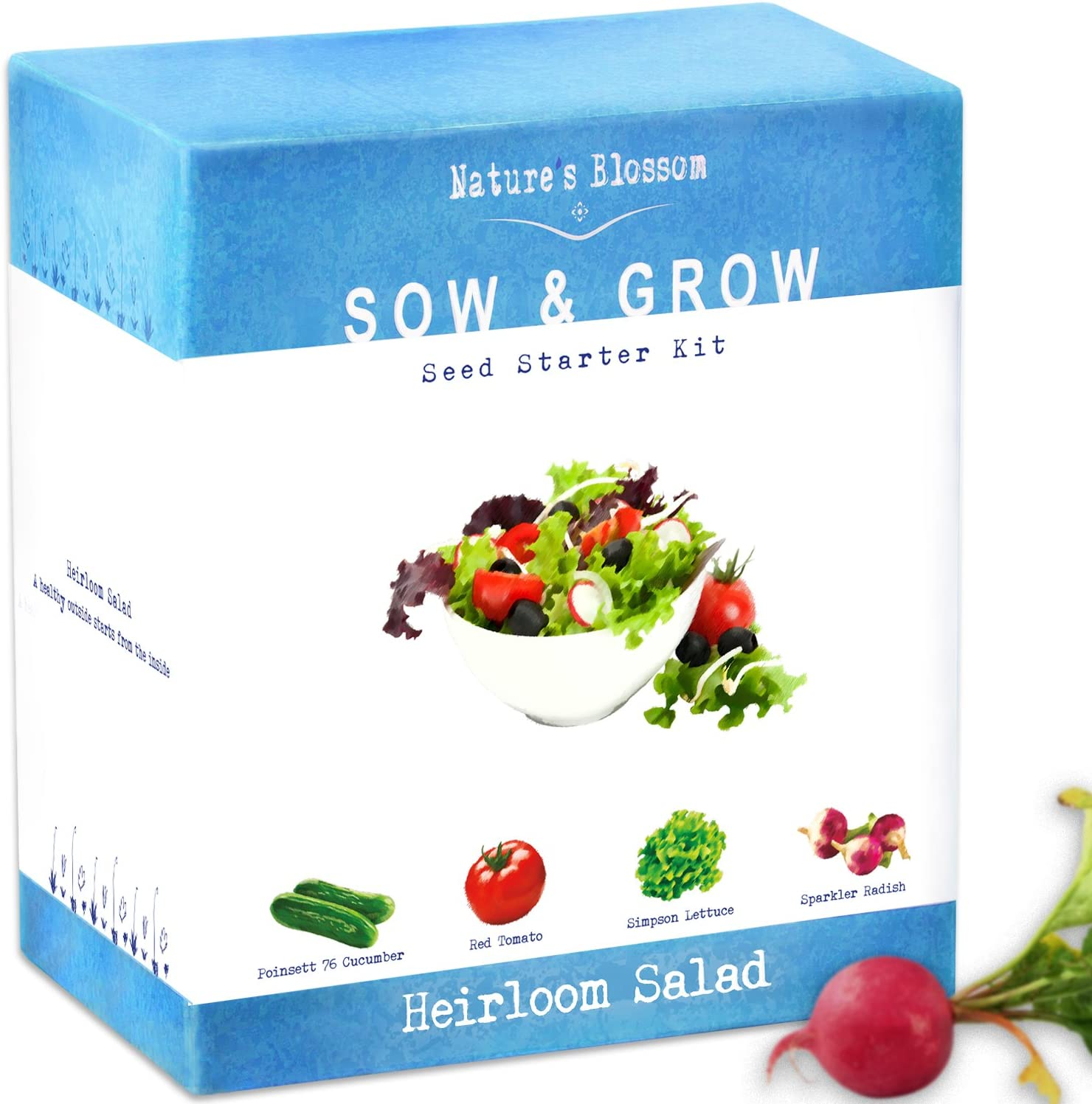 Nature's Blossom Heirloom Vegetables Seed Starter Kit - Grow 4 Types of Plants from Non-GMO Heirloom Seeds: Tomatoes, Cucumbers, Radish, Lettuce. Fun Holidays Garden Gift for Kids and Adults.