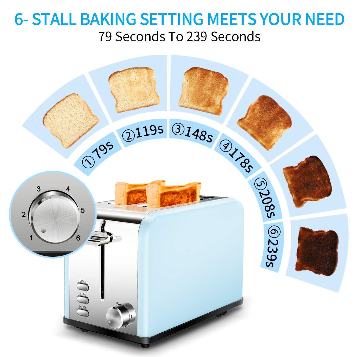 Grille-pain 2 tranches, Keenstone Slice Toaster Grille pain en acier inoxydable, 6 Contrôle du brunissement, Plateau à miettes amovible, Fonction de décongélation, de réchauffage et d\'annulation, Bleu