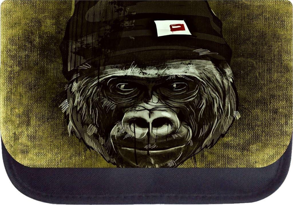 Monkey Punk on Brown Grunge Print Design Backpack and Pencil Case Set