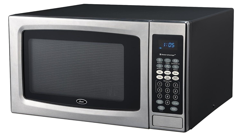 Oster OGZE1304S 1100W Sensor Microwave Oven, 1.3 cu. ft, Stainless Steel/Black