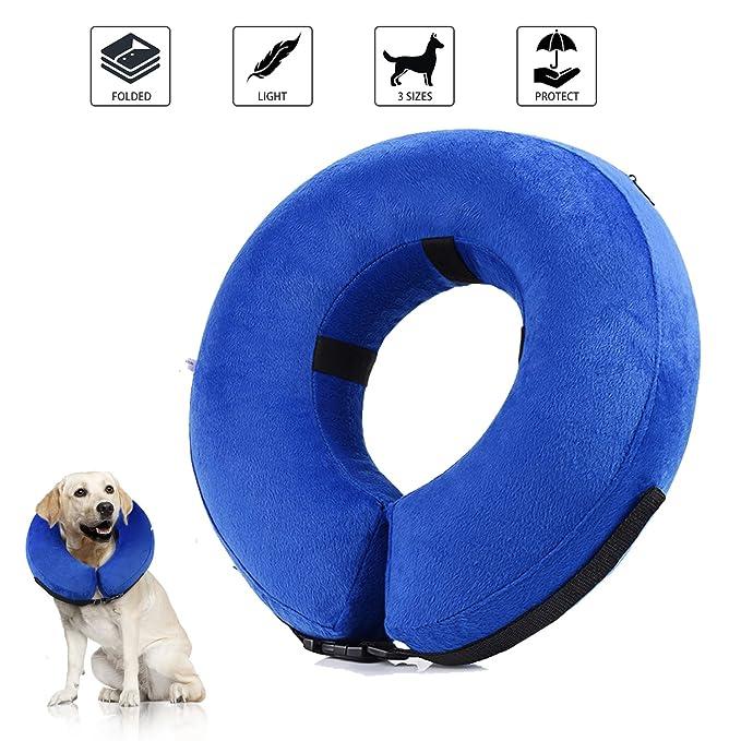 Collar de recuperación inflable para perros, cono de cuello isabelino ajustable para mascotas Recuperación de cirugía o heridas (M)