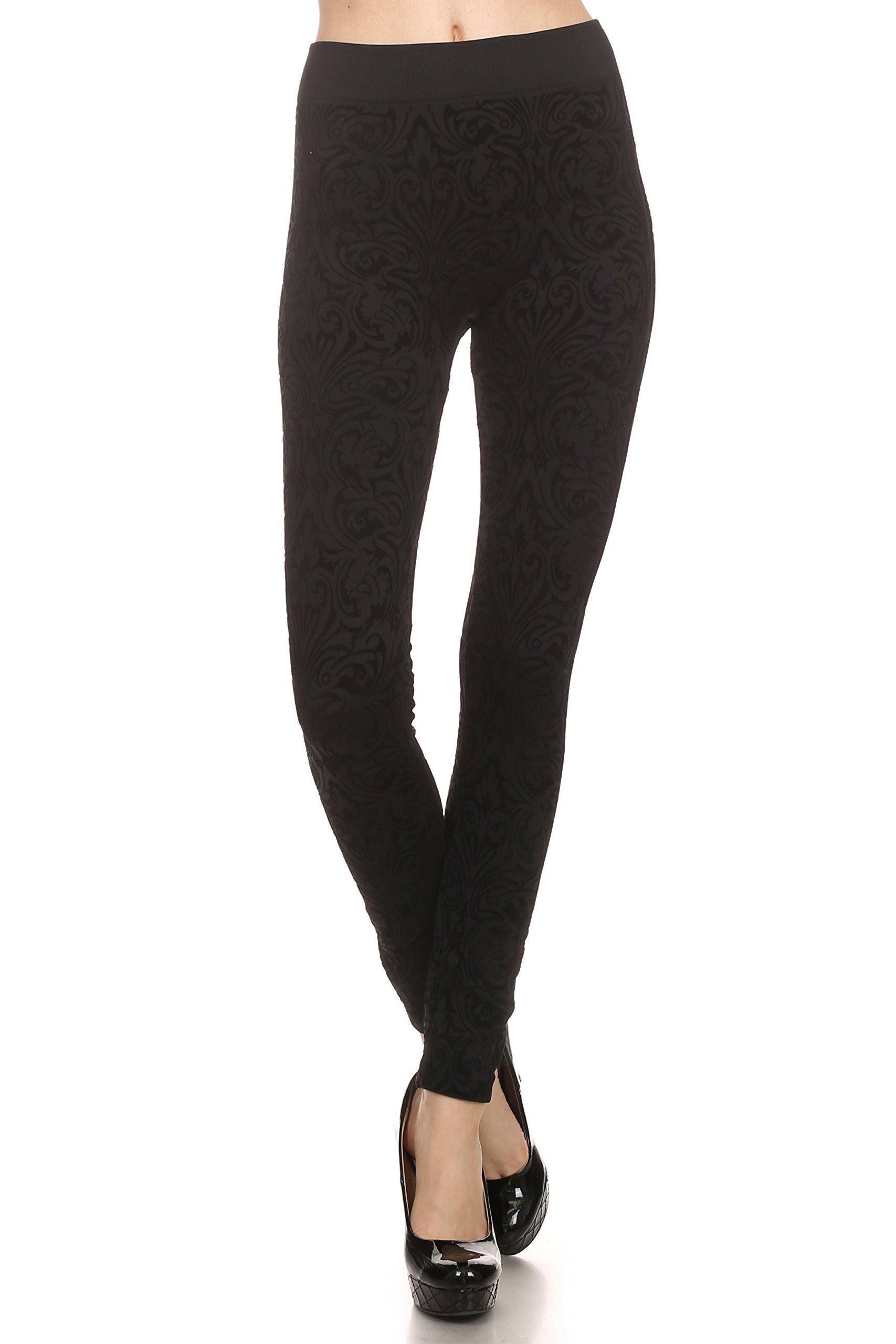 ICONOFLASH Women's Fleece Lined Textured Flocked Velvet Leggings (Victorian, One Size)