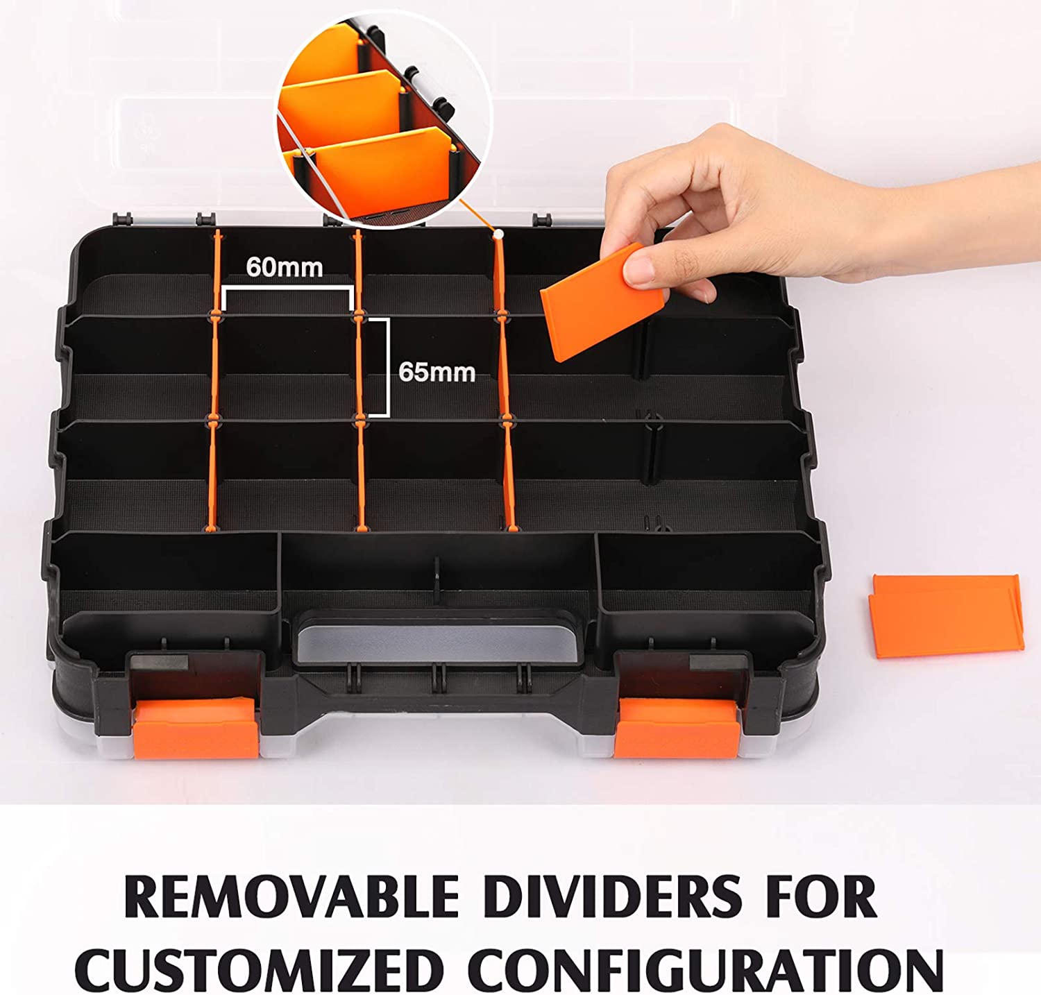 Black//Orange MIXPOWER 34-Compartment Double Sided Organizer with Impact Resistant Polymer and Customizable Removable Plastic Dividers storage and carry