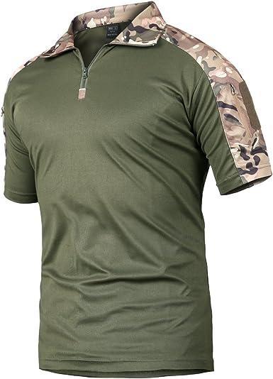 Camisa de Combate para Hombres Caza táctica Militar Polo de Manga Corta Held Airsoft Camuflaje Camiseta Uniforme táctico Ropa Deportes al Aire Libre para Multicam CP Small: Amazon.es: Ropa y accesorios