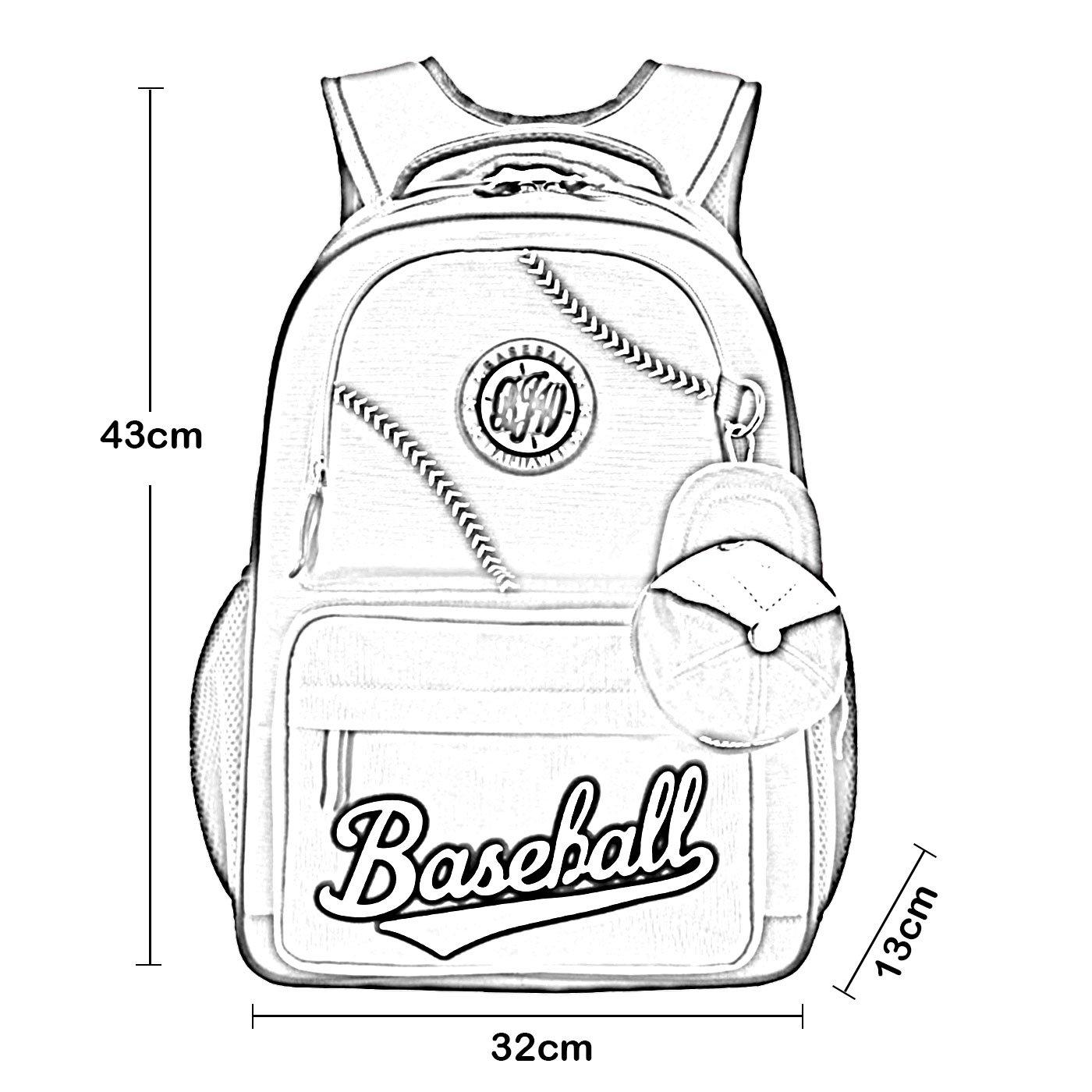 Baseball School Bag Water Resistant Nylon Backpack Bookbag with Two Zipper Mini Cap for Grade 3-6 Student