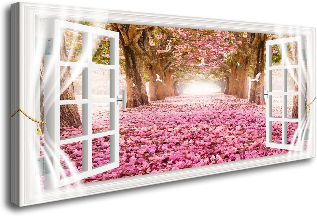 Cao Gen Decor Art-AH40150 Wall Art Trees and Pink Rose Paintings Printed Pictures Stretched and Framed Canvas Paintings Ready to Hang for Home Decorations Wall Decor