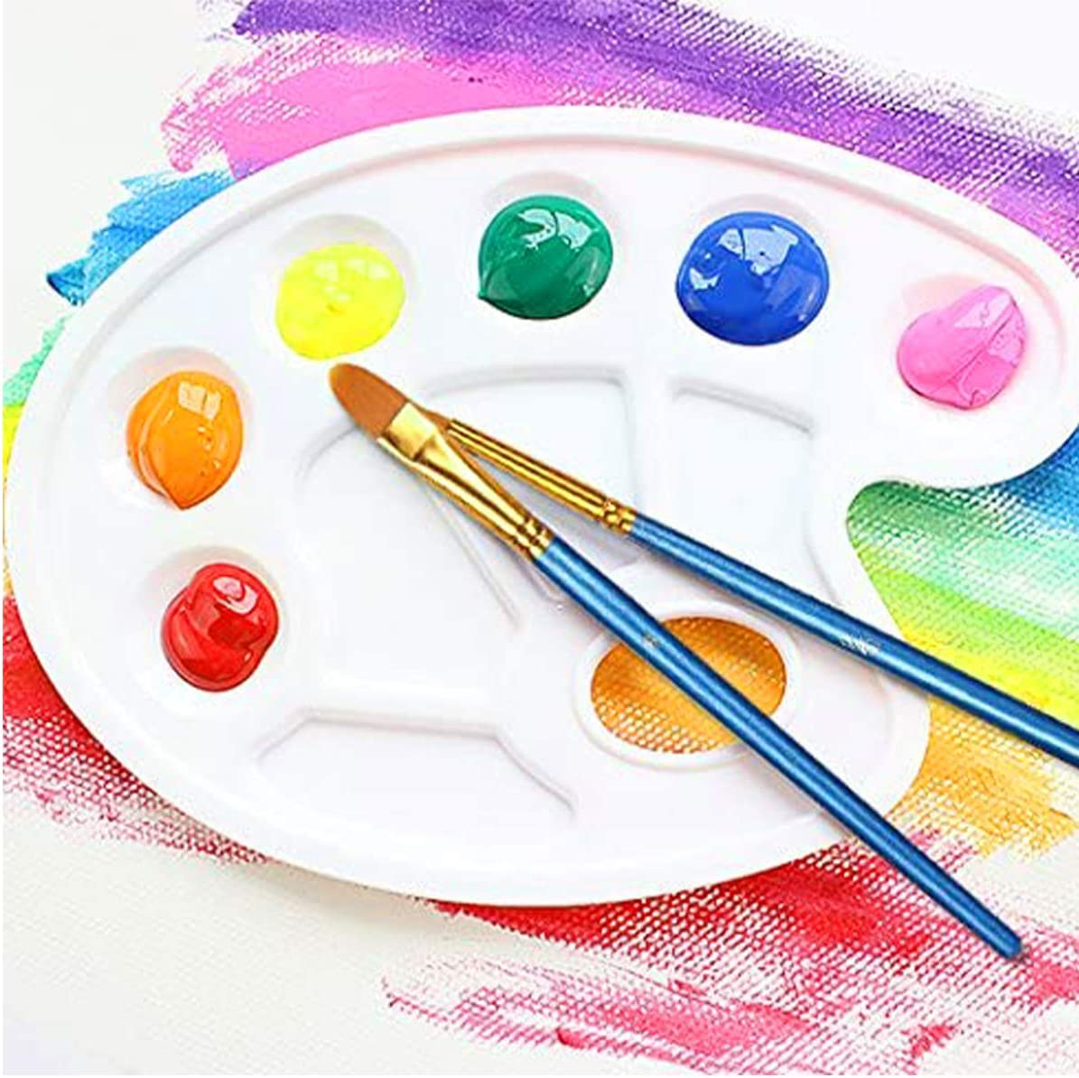 Beginner Kids Arts Crafts Supplies 12Pcs Artist Paintbrushes//2 Color palettes for Acrylic Oil Watercolor Fine Detail Miniature Acrylic Paint Brushes Set Rock Painting Kit Body Face Painting