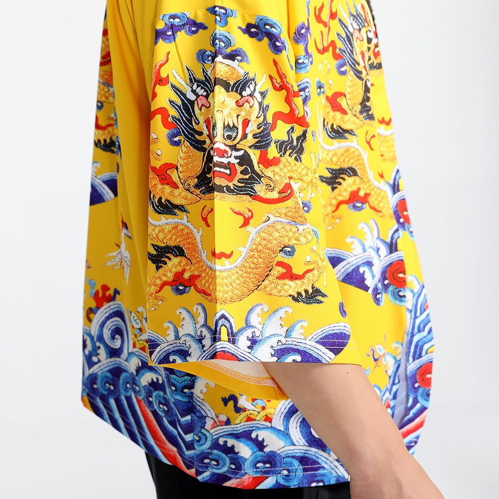 Men Japanese Yukata Coat Kimono Outwear Vintage Loose Top Chinese Dragon by Hao Run (Image #2)