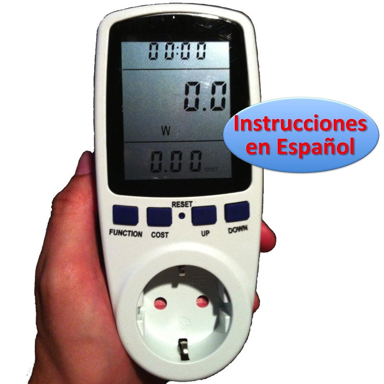 Medidor de Consumo Elé ctrico con pantalla LCD grande (Vatí metro, factor de potencia, Watiometro, Contador Electricidad, Amperí metro, Voltí metro, Power Factor, Watt Meter para Enchufe 220v 230v) Amperímetro Voltímetro Ahorral