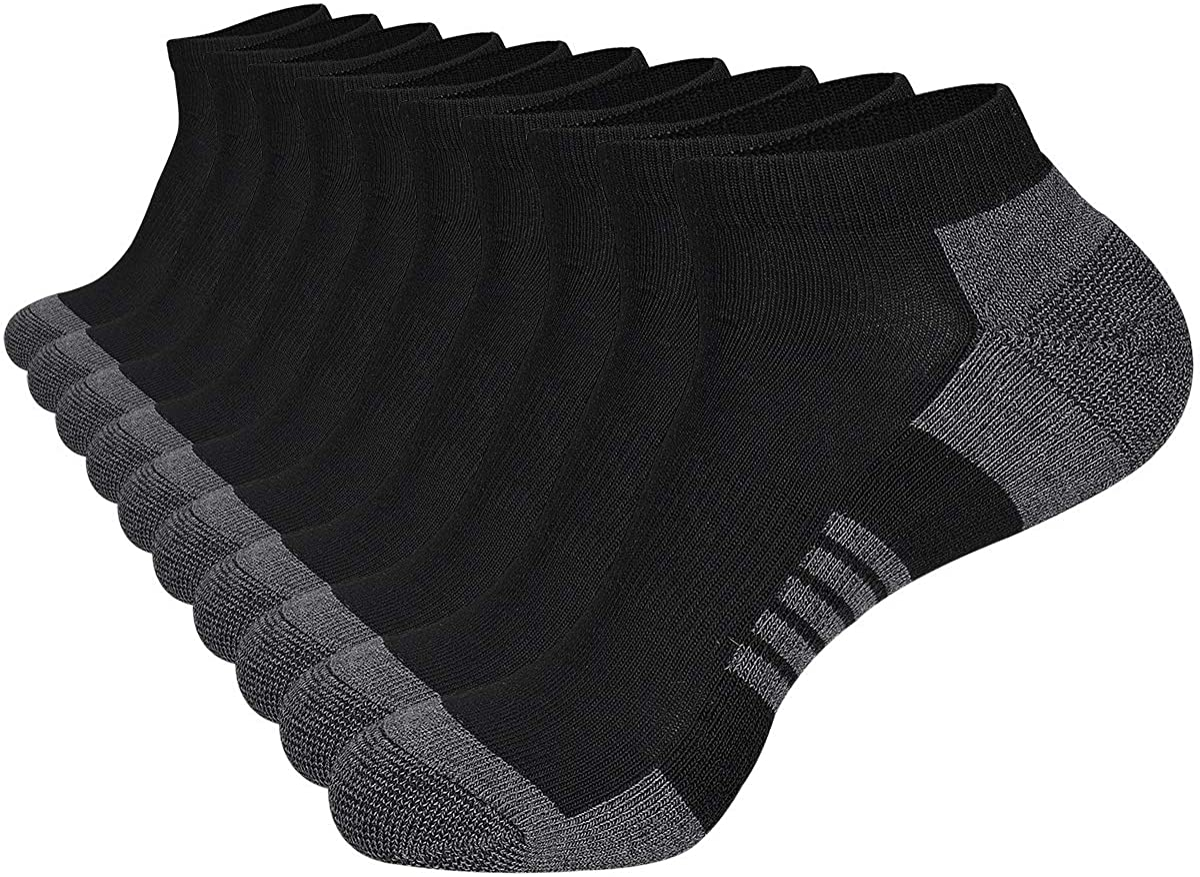 COOVAN 10 Pairs Mens Ankle Socks Men 10 Pack Low Cut Comfort Cushion Casual Socks