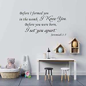 VODOE Wall Decals for Kids, Bible Verse Wall Decal, Quotes Living Room Nursery Biblical Christian Religious Scripture Home Art Decor Vinyl Stickers Before I Formed You in The Womb I Knew You 21