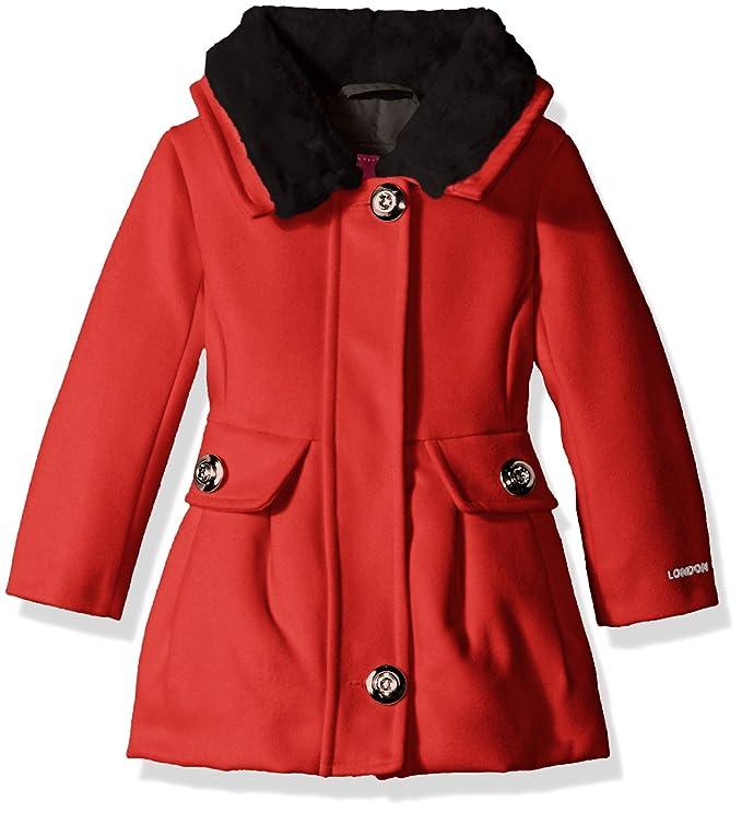 4e54a76e1c45 Amazon.com  London Fog Baby Girls  Faux Wool Coat with Fur Collar ...