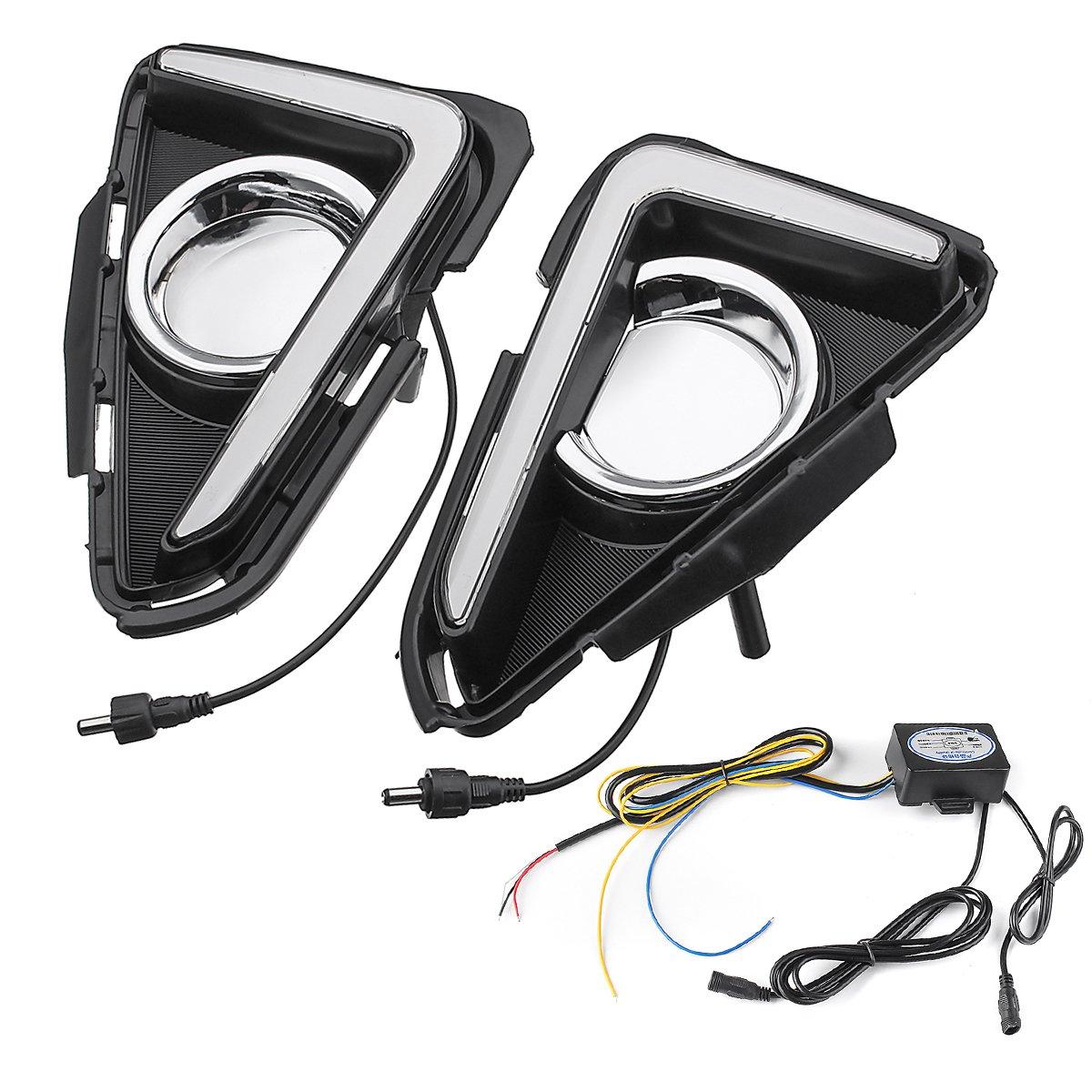 Fincos 2Pcs Dual-Color LED Car Daytime Running Lights Turn Lamp for Toyota RAV4 2015-2017