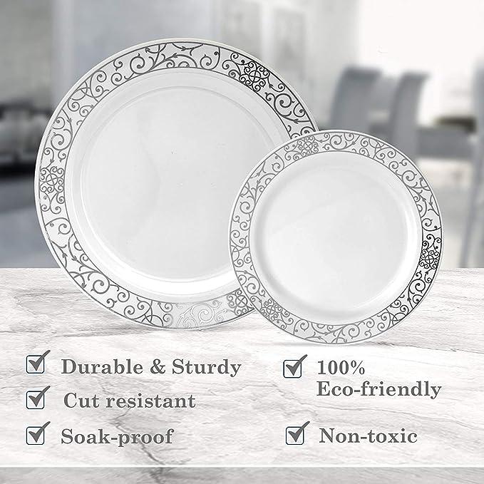 240-piece de Posh veneciano Juego de vajilla | 120 pcs platos llanos y 120 pcs ensalada/platos de postre | elegante plástico China cubiertos violeta con oro ...