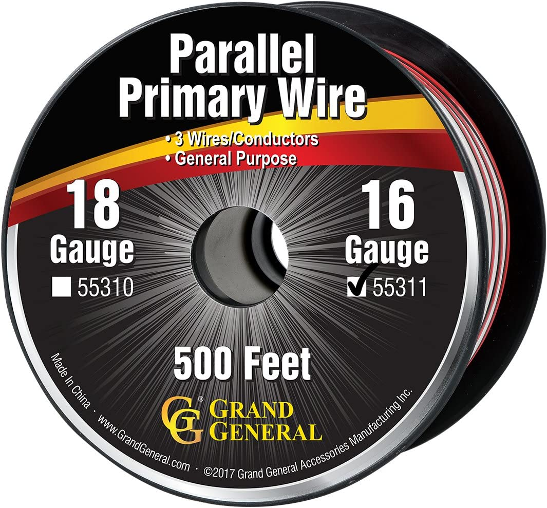 Red /& White Automobile and More Black Grand General 55303 Parallel Primary 3-Wire 25ft Roll with Spool For Trucks