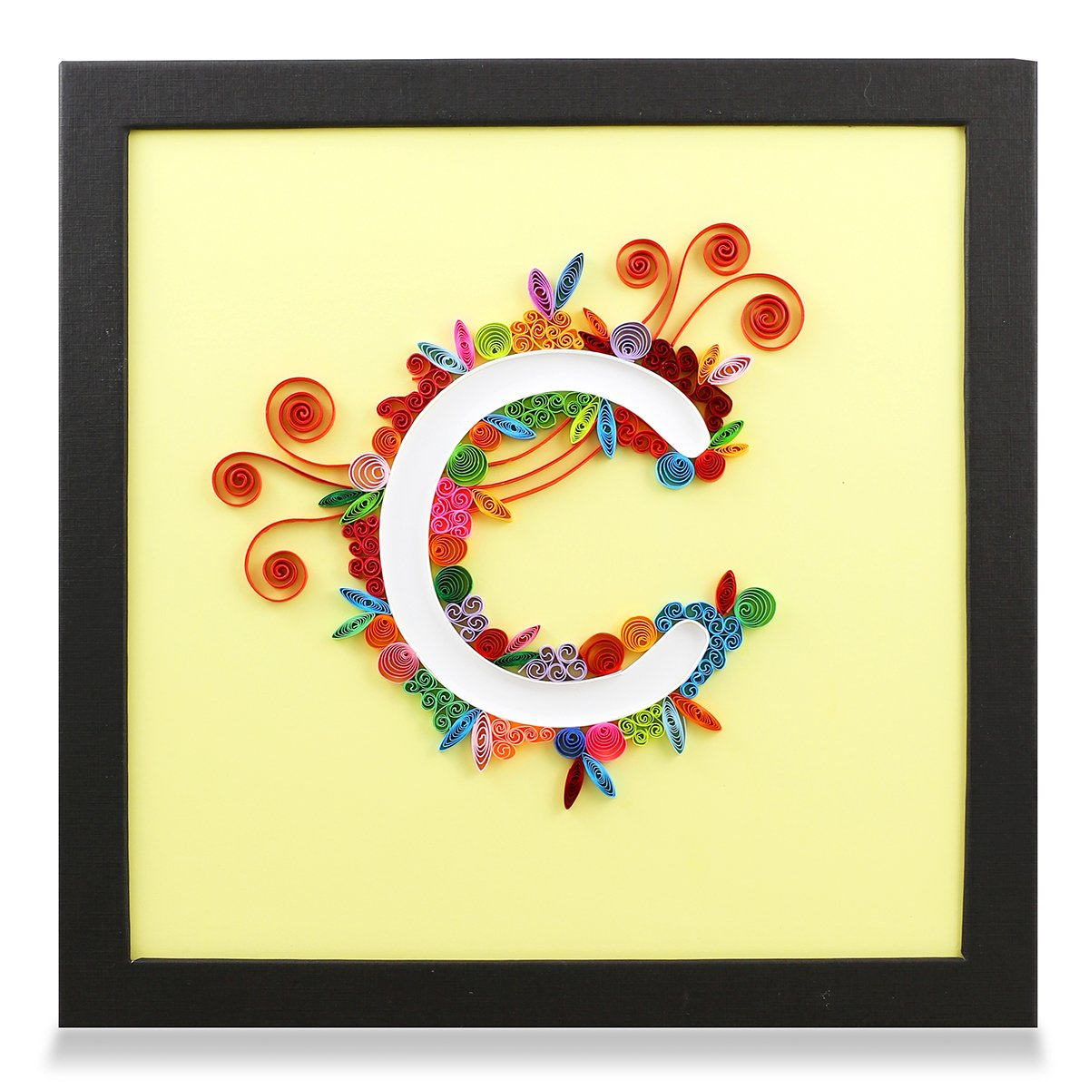 Amazon.com: Letter C Handmade Paper Quilling Artwork, Framed 3D Wall ...