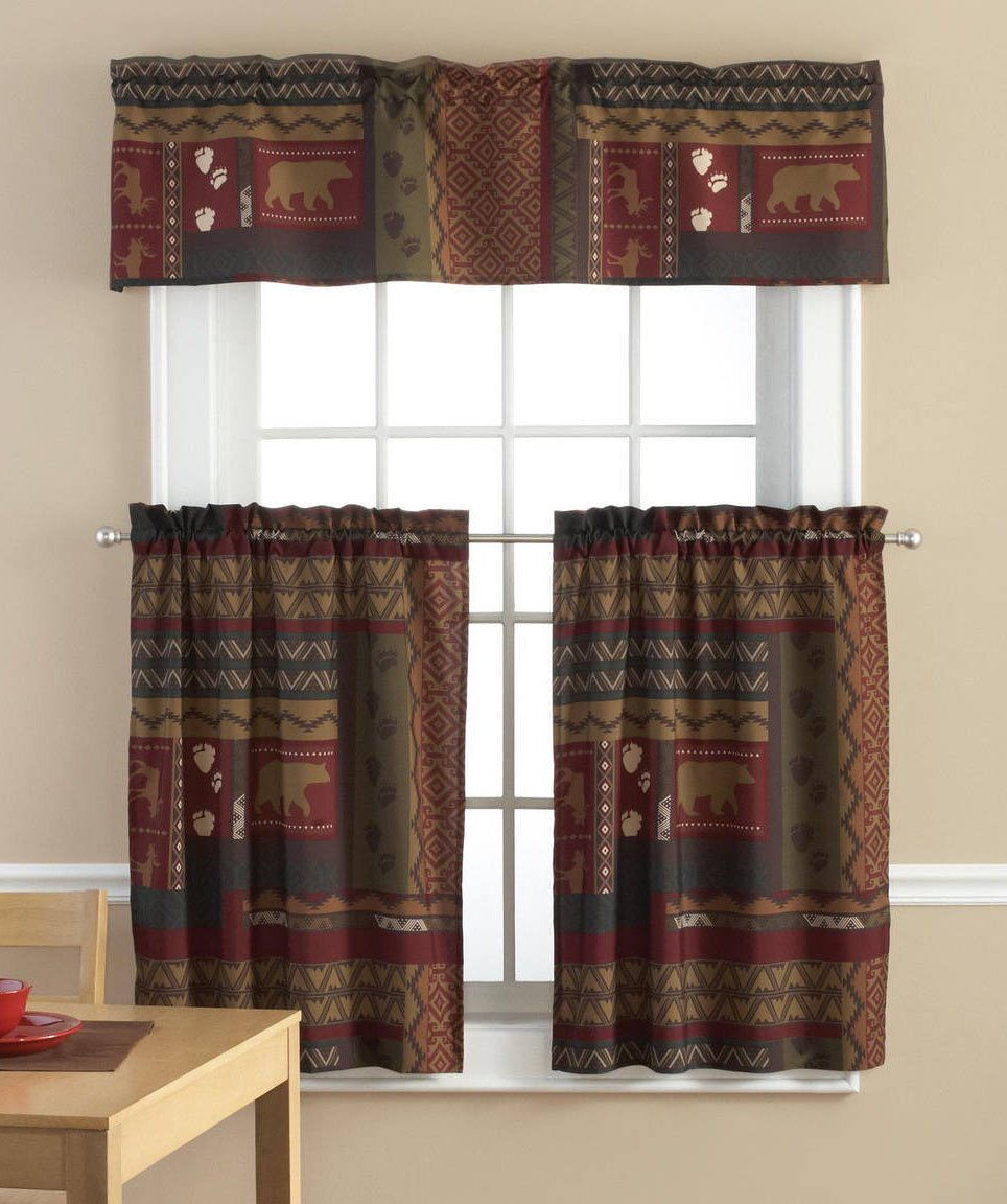 TAHOE CABIN 3 Piece Valance & Tiers Cafe Curtain Set Lodge Bear Moose