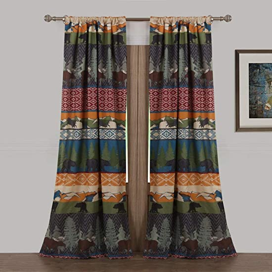 DH 2 Piece 84 Inch Multi Color Black Bear Moose Lodge Curtain Panel Pair Set