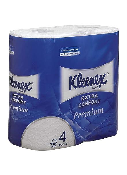 4-lagig Kleenex 8484 Standard-Toilettenpapierrollen 24 Packungen x 160 wattierte Bl/ätter wei/ß