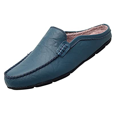 Go Tour Mens Mules Clog Slippers Breathable Punching Leather Slip on Shoes Casual Loafers | Mules & Clogs