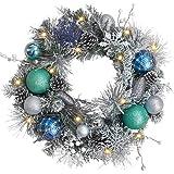 Brinny 30cm weihnachtsdeko led weihnachtskranz adventskranz t rkranz kranz mit blau kugeln und - Weihnachtsdeko kugeln beleuchtet ...