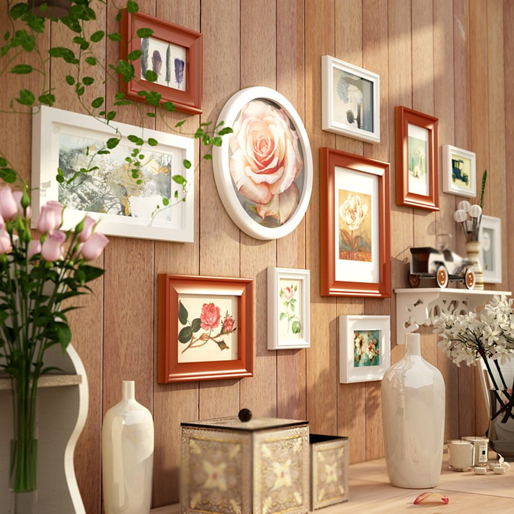 European solid wood photo wall / combination bedroom living room wall photo frame / modern photo wall shelf 11 box 164 71cm ( Color : B ) by Photo Wall