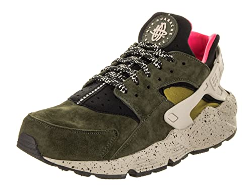 new styles 01c92 454fa Nike Men s Air Huarache Run PRM Black Desert Moss Solar Red Running