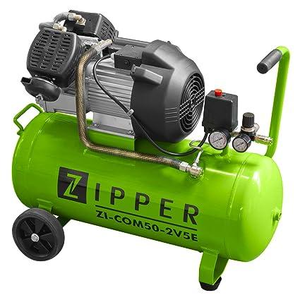 Compresor aire compresores ZIPPER ZI-COM50-2V5 capacidad 50 litros 2 cilindros