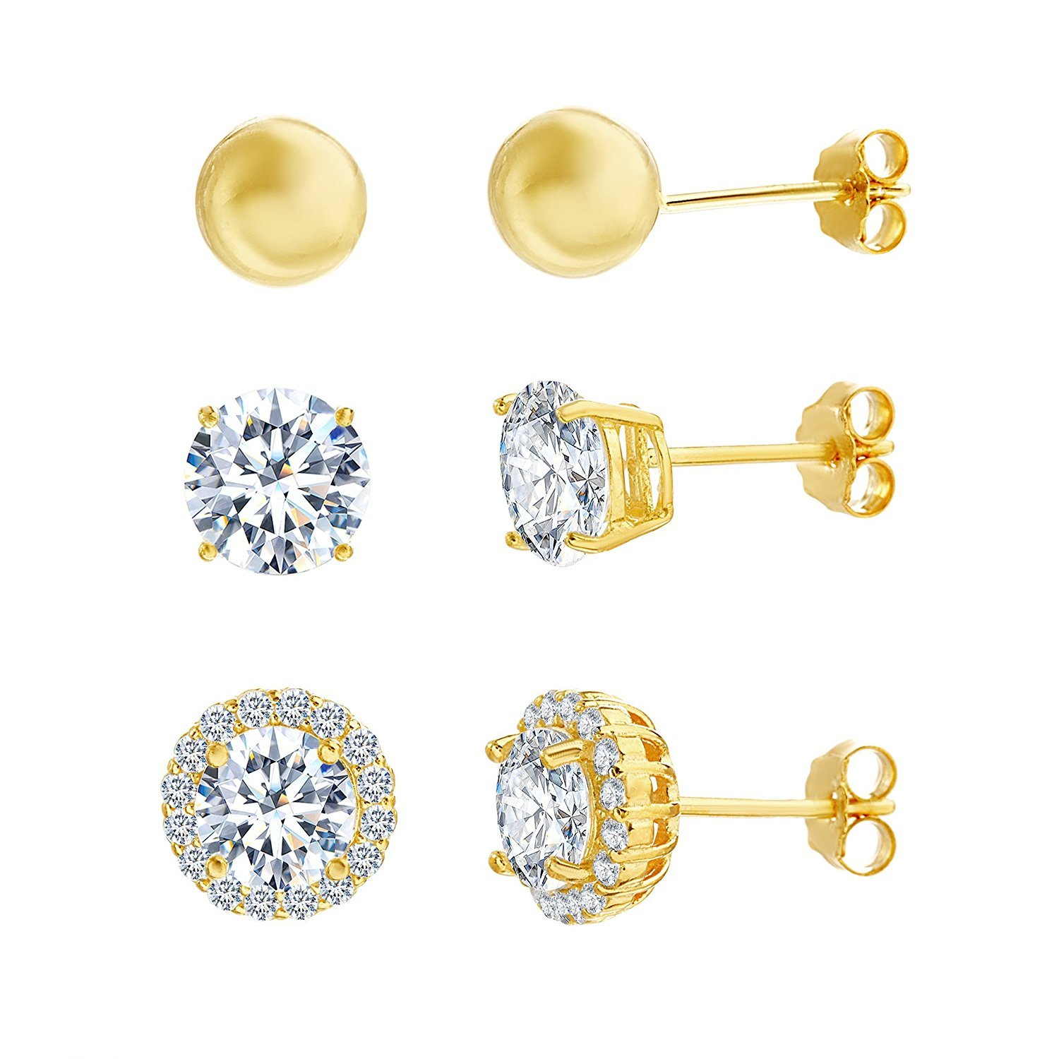 Lesa Michele Cubic Zirconia 3 pair Stud Earring Set in Yellow Gold over Sterling Silver
