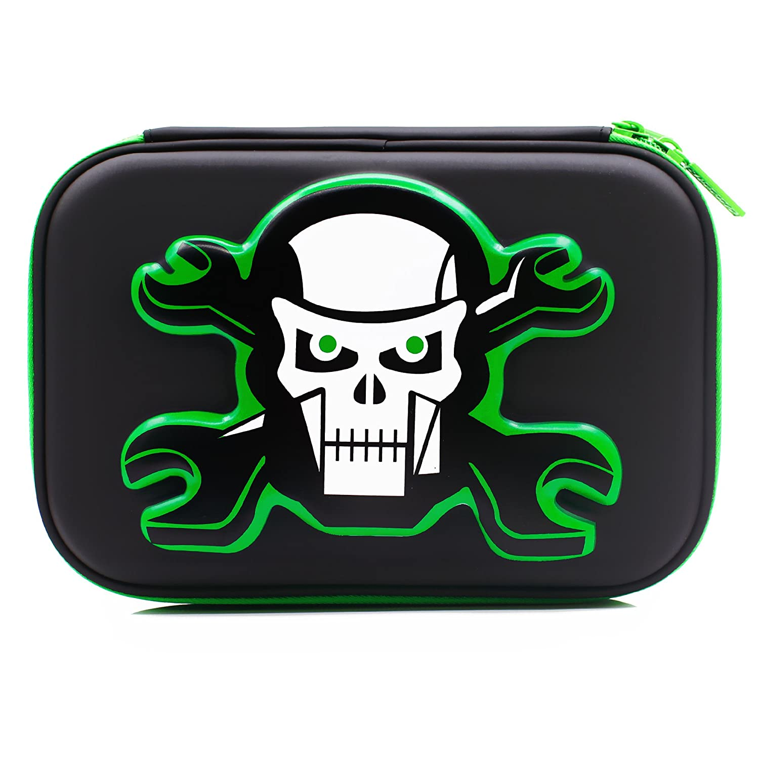 School Boys Cool Skull Hardtop Pencil Case Big Pencil Box With Compartment For Kids (Black) SOOCUTE