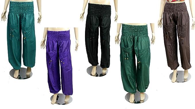 d5295551e10 Amazingindiaonline 5pc Cotton Trouser Harem Balloon Yoga Pants Hippie  Wholesale Lot  Amazon.co.uk  Clothing