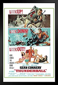 Pyramid America James Bond Thunderball Portrait Movie Framed Poster 14x20 inch