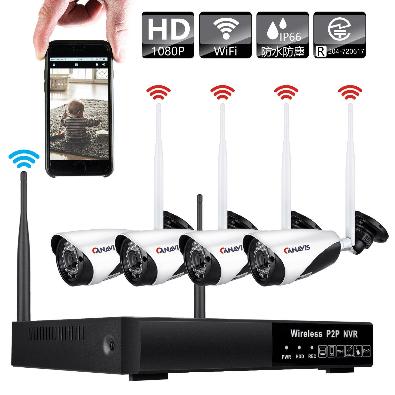 CANAVIS 防犯カメラセット 監視カメラ 無線 wifi ワイヤレス 4台セット 200万画素 防水防塵 屋外/屋内 録画 赤外線 暗視 動体検知 PC/スマホ 遠隔監視対応 4CHレコーダー 1TB HDD CCTVセキュリティカメラ 日本語説明書付き[HDD 1TB内蔵/2年保証] B077VP122G WiFi+200万画素+1TB WiFi+200万画素+1TB