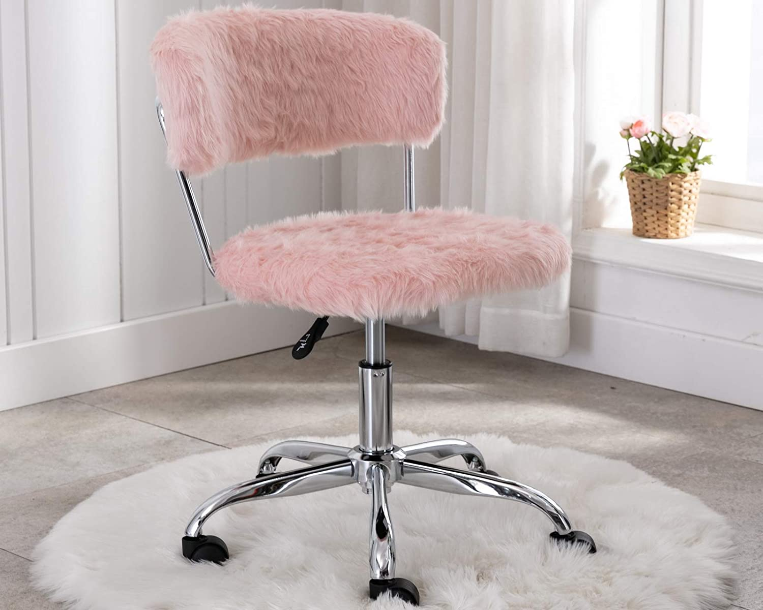 CIMOTA Pink Home Office Chair Cute Fluffy Vanity Chair with Back Task Upholstered Fur Armless Swivel Desk Chair for Study Room, Height Adjustable