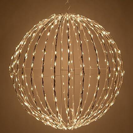 Christmas Light Balls.Led Light Ball Indoor Outdoor Christmas Light Balls Light Spheres Outdoor Sphere Light Fold Flat Metal Frame 16 White Frame Warm White Lights