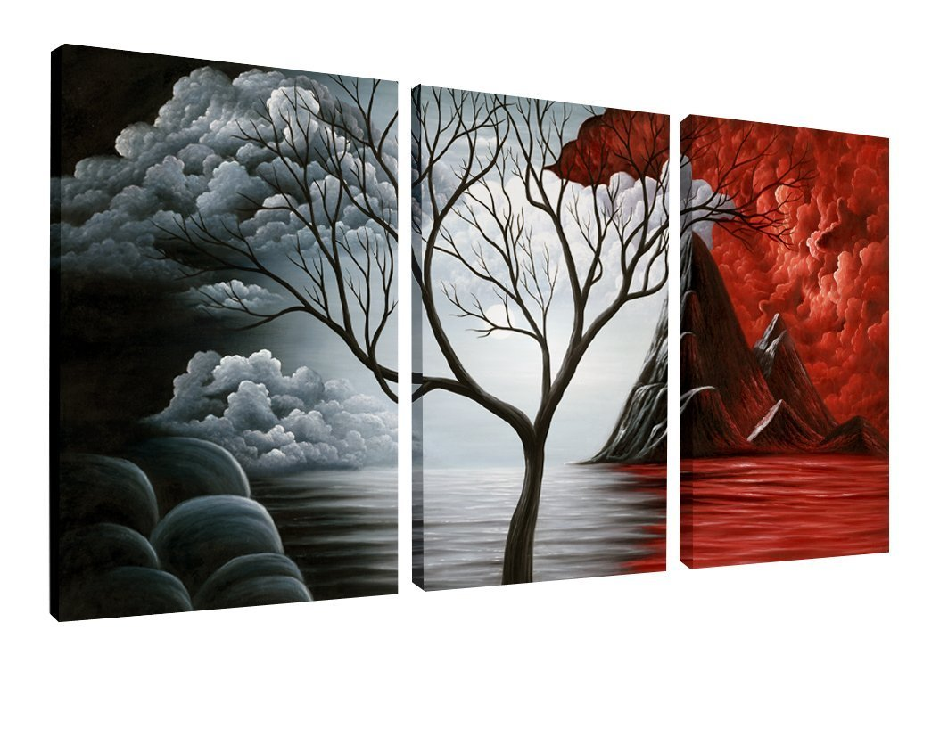 3 Panels with Black Frames WAB3006M-BF Wieco Art Framed Art The Cloud Tree Wall Art HD Print of Oil Paintings Giclee Landscape Canvas Prints for Home Decorations