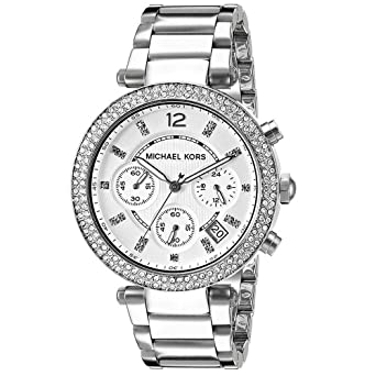 cd76e6b5139e9 MK5353 Ladies Stainless Steel Stone Set Watch  Amazon.co.uk  Watches