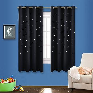 bedroom star blackout curtain panel nicetown nursery essential laser cutting star drapery drape for