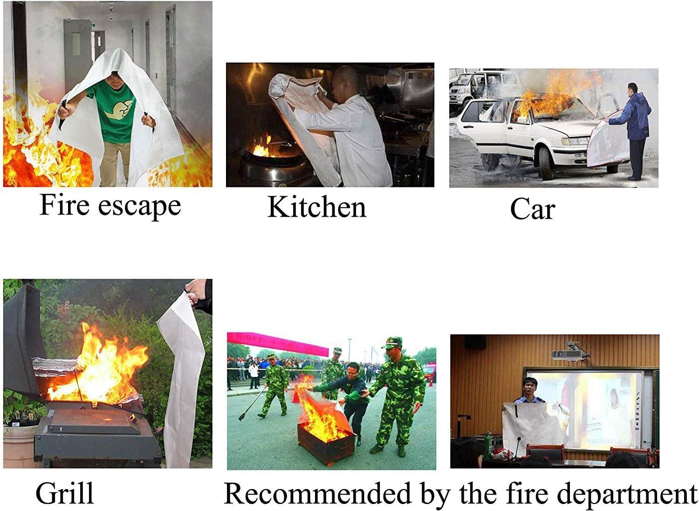 5 St/ück Camping Toneeko Notfall-Decke Kamin Auto Grill Wei/ß flammenhemmender Schutz und W/ärmed/ämmung f/ür K/üche