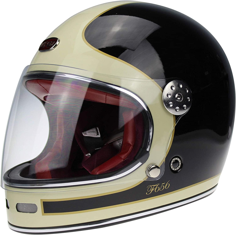 59-60 CM VIPER F656 CLASSIC HELMET INTEGRAL MOTORCYCLE GLASS FIBER RETRO VINTAGE ECE CUSTOM CHOPPER BOBBER BLACK LIGHT CREAM L