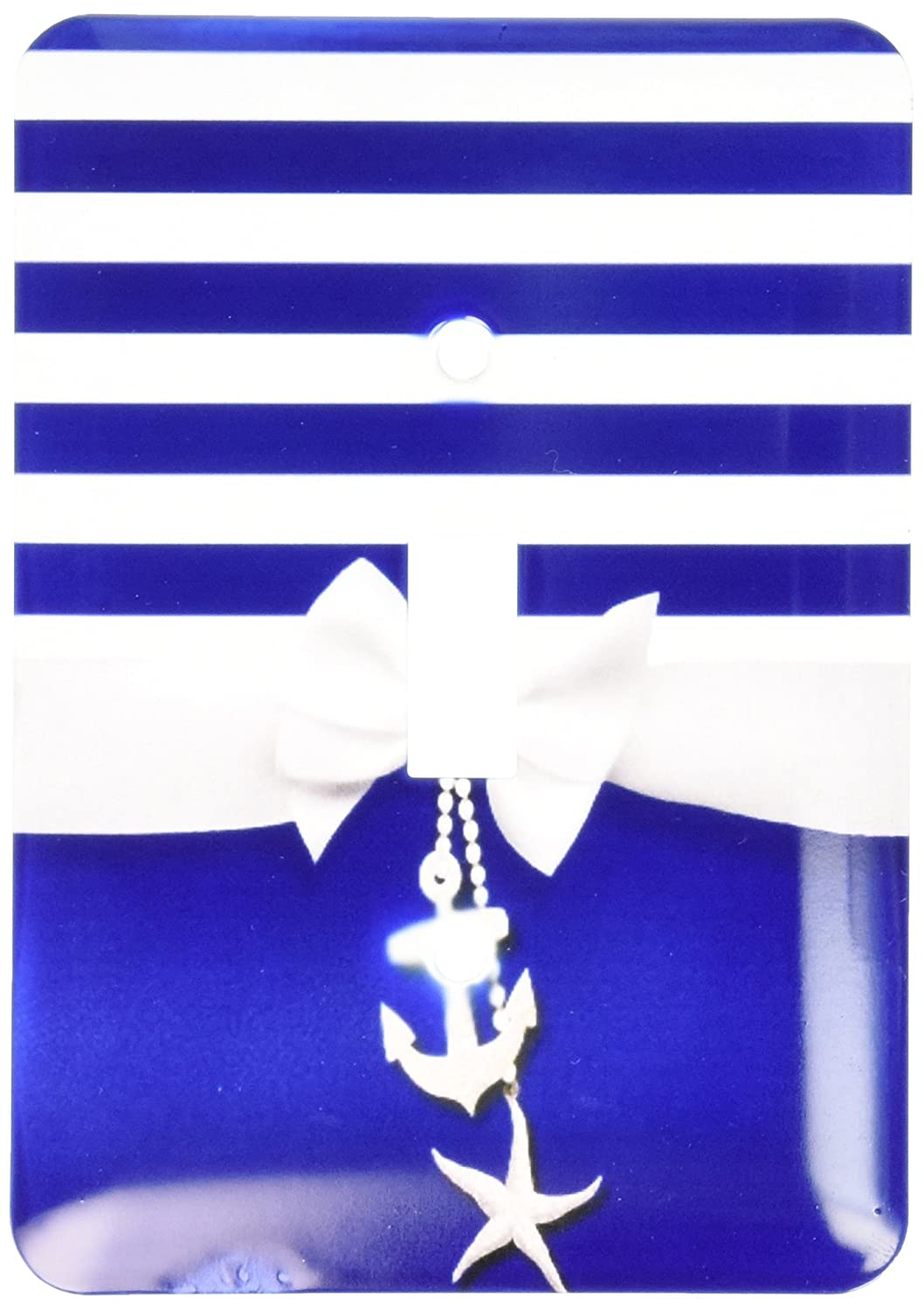 3Drose lsp_151234_1 Nautical Navy Blue and White Stripes 2D Ribbon Bow Graphic and Printed Anchor and Starfish Charms Single Toggle Switch 3dRose - CA