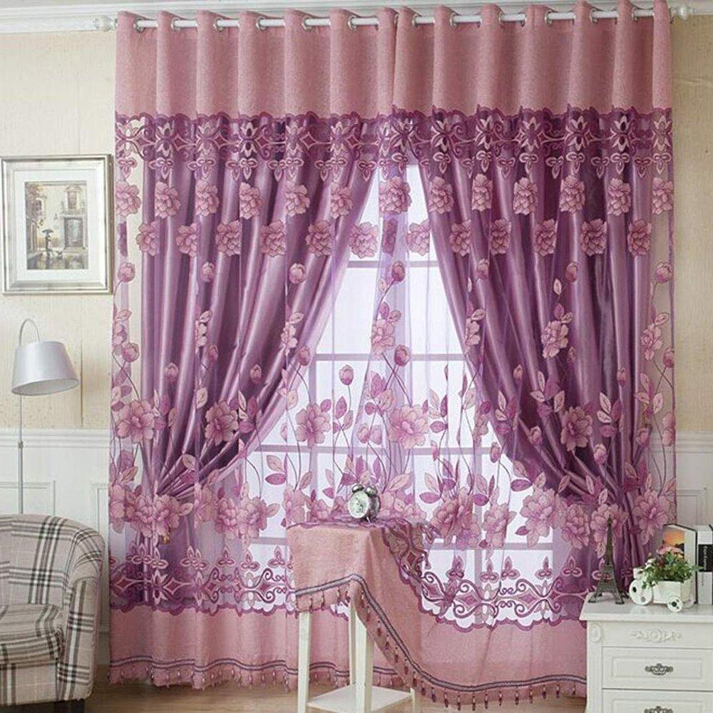 Románticas cortinas de tul con patrón floral. Medida 100x250cm.