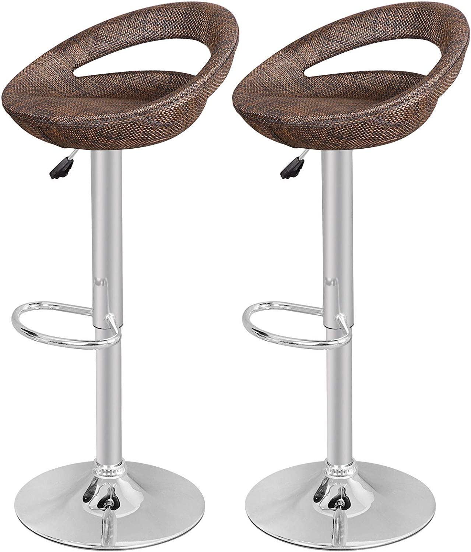 GJH One Rattan Wicker Bar Stool Modern Adjustable Swivel Home Pub ABS Set of 2