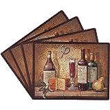 Benson Mills Bordeaux * 软木餐垫,4 件套 枣红色 16-Inch by 12-Inch Rectangle 4389