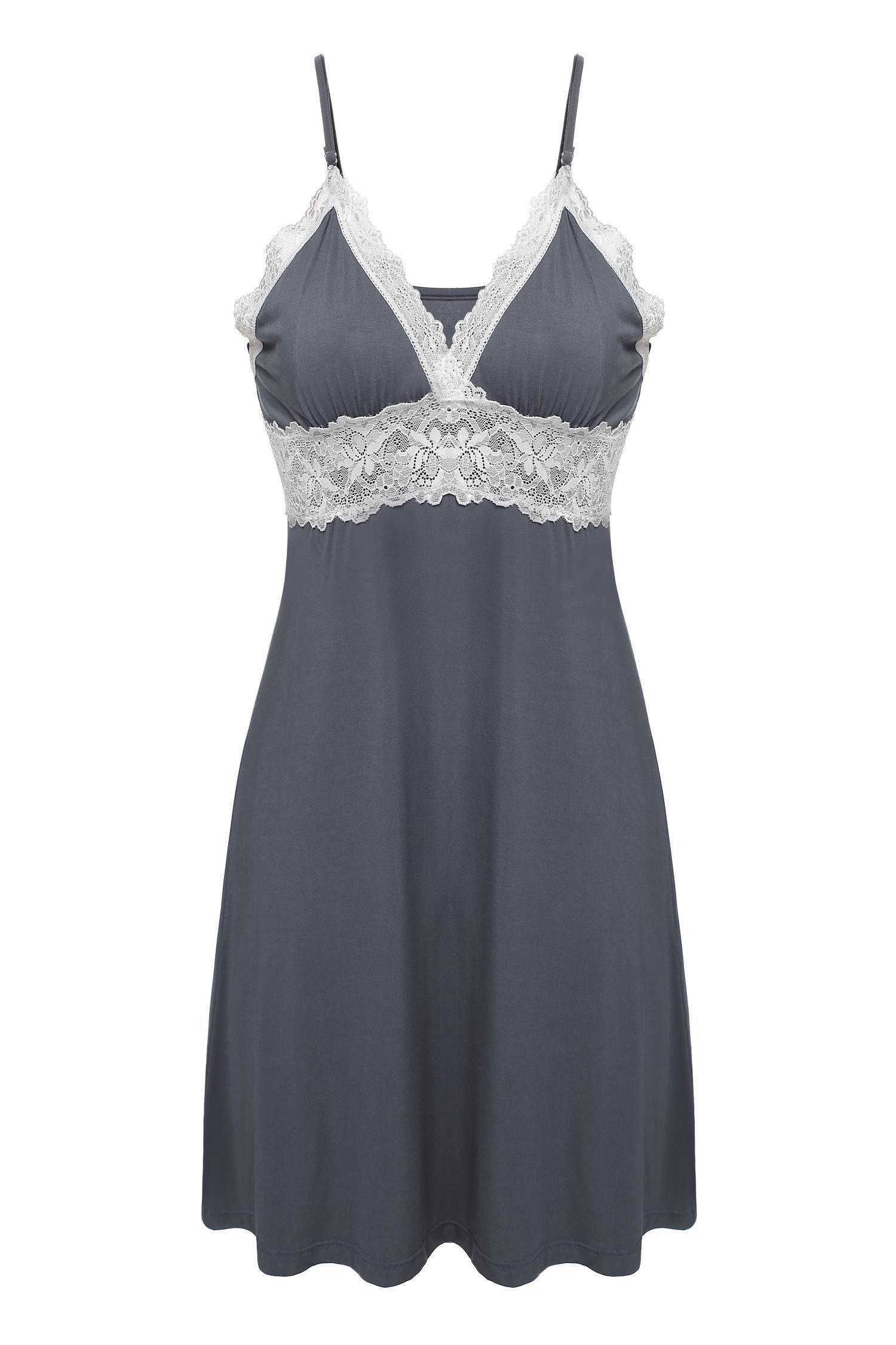 Ekouaer Nightdress Womens Lace Chemise,Viscose-gray,Large