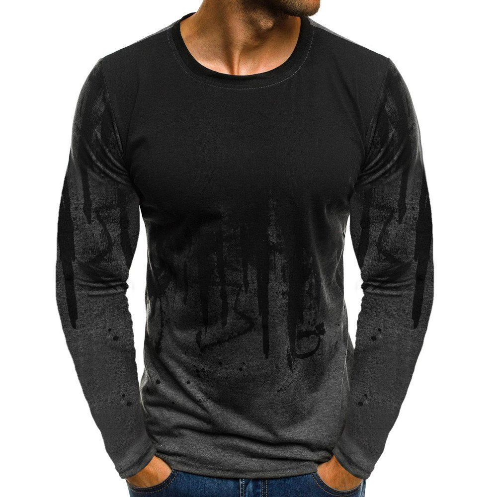 DIOMOR Men Fashion Wild Gradient Color Long-Sleeve Beefy Muscle Basic Solid Blouse Tee Shirt Top Carnival Gray