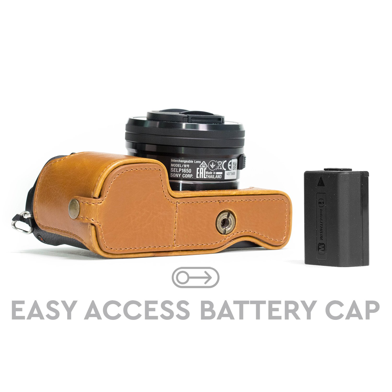 MG964 MegaGear Sony Alpha A5100 A5000 Ever Ready Custodia met/à copertura in ecopelle per Fotocamera con Tracolla Marrone scuro