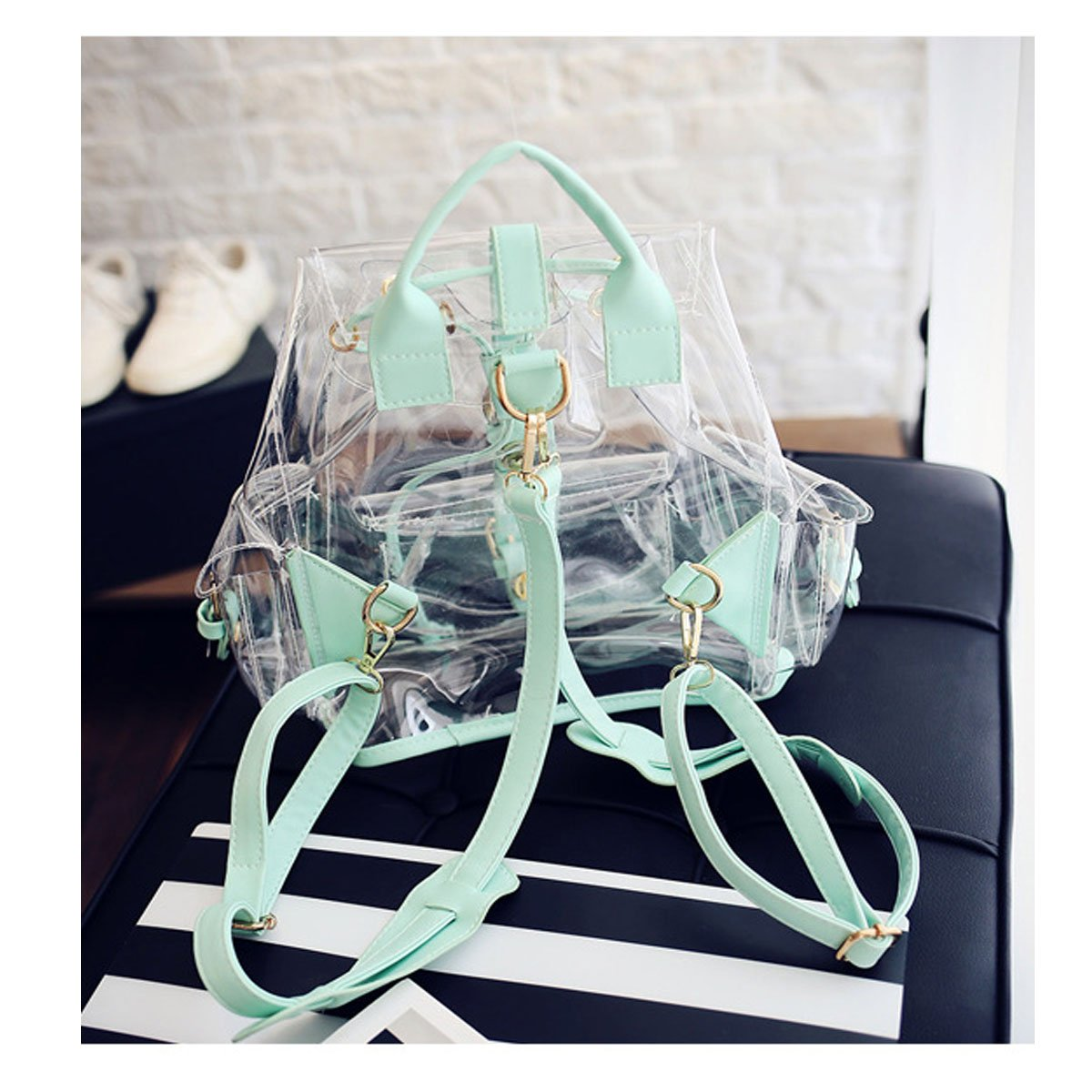 Amazon.com | ANPI Cute Stylish Summer Clear Backpack Rucksack Knapsack Satchel Transparent for Girls and Ladies Green | Kids Backpacks
