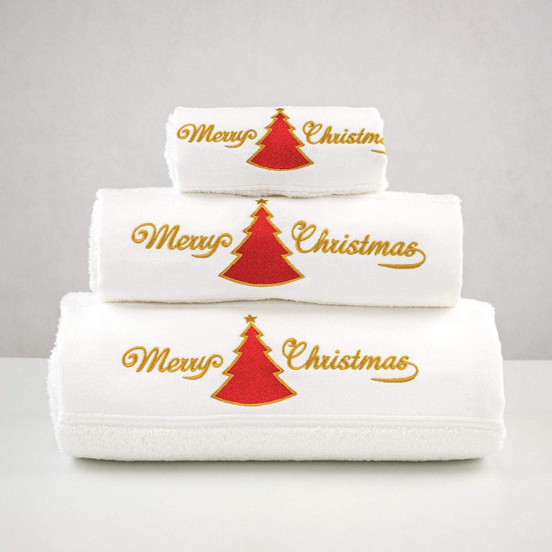 Merry Xmas Set von 3/Bestickt Wei/ß Bad Handt/ücher/ /ref Weihnachten rot Baum